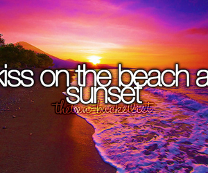 beach, sunset, and kiss image