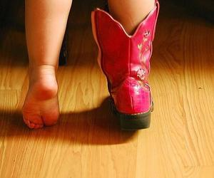 little girl, pink, and cowgirl boots image