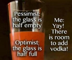 glass, pessimist, and optimist image