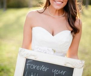 wedding, bride, and little girl image