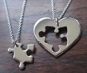 puzzle, necklace, and heart image
