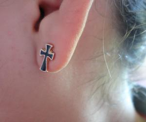 cross, earring, and hipster image
