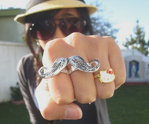 mustache, ring, and hello kitty image