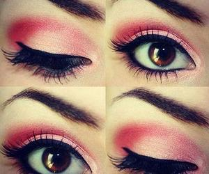 eyes, pink, and makeup image