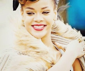 red lips, rihanna, and smile image