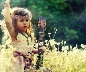 guitar, child, and hippie image