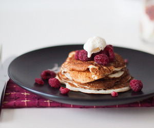 food, raspberry, and pancakes image