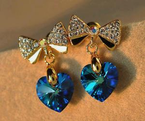 blue, earings, and bow image