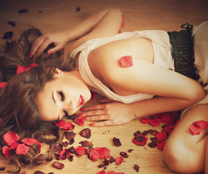 fashion, girl, and rose petals image