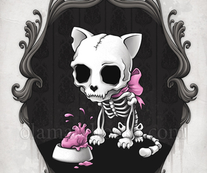 cat, skull, and art image