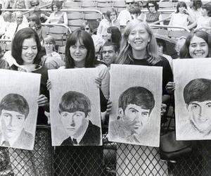 60's, black and white, and fans image