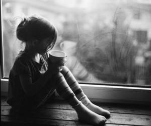 girl, black and white, and window image