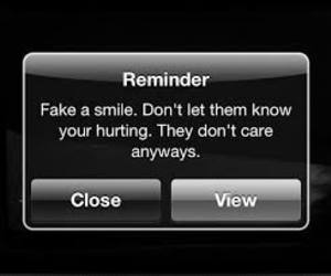 fake smile, message, and quote image