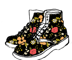 boot, Figure, and floral image