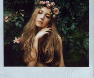 girl, flowers, and polaroid image