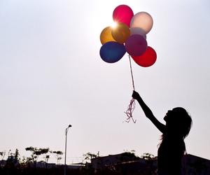 balloons, girl, and shadows image