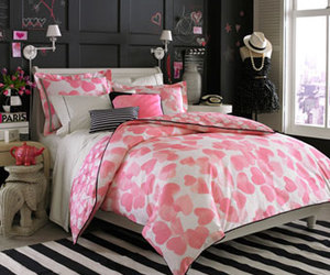 bedroom, black and white, and pink image