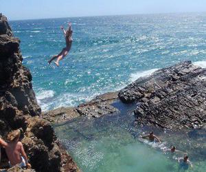 friend, jump, and sea image