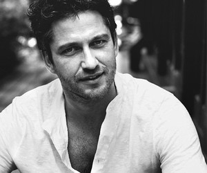 gerard butler, actor, and black and white image