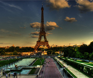 paris, eiffel tower, and sky image
