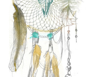 drawing, dreamcatcher, and feather image