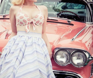 car, vintage, and Pin Up image
