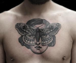 butterfly, chest tattoo, and face image