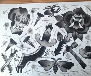 bw, rose, and scull image