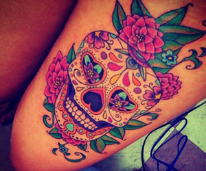 color, flowers, and tattoo image
