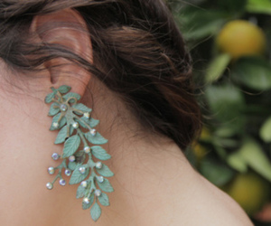 earring, leaf, and jewelry image