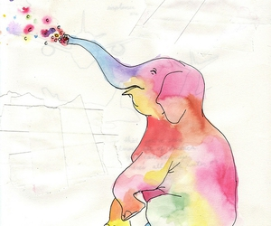 elephant, paint, and watercolor image
