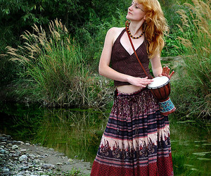 boho, drums, and hippy girl image