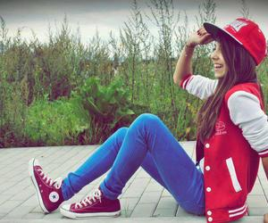 girl, red, and converse image