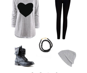 beanie, gray, and heart image