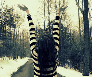 girl, snow, and stripes image