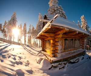 snow, sun, and house image