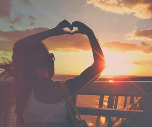 girl, heart, and sunset image