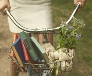 book, flowers, and bike image