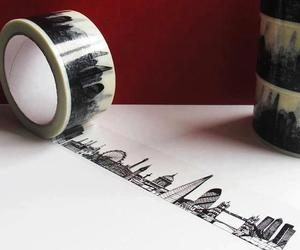 london, city, and tape image