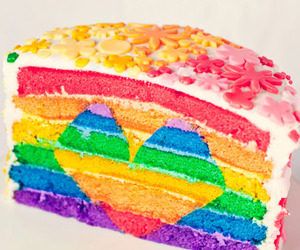 cake, rainbow, and heart image
