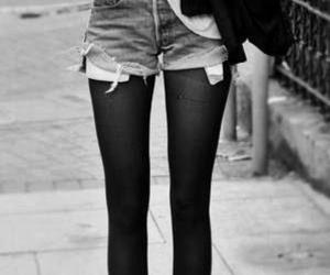 style, black and white, and legs image