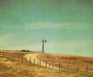 fields, vintage, and windmill image