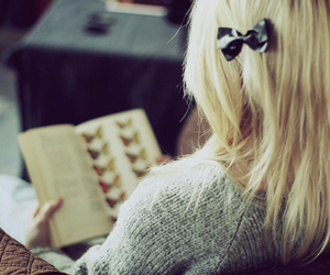 girl, book, and bow image