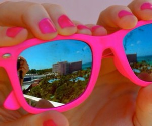 pink, summer, and sunglasses image