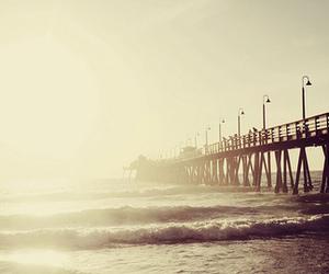 beach, pier, and sea image