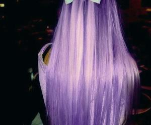 long hair, purple, and hairbow image