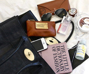 bag, sunglasses, and book image
