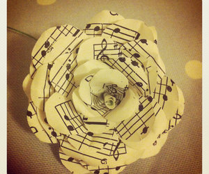 music, flower, and notes image