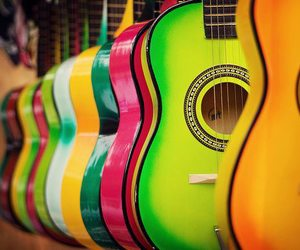 guitar, music, and colors image