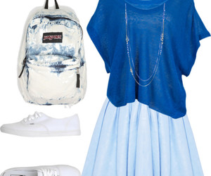 blue, outfit, and jansport image